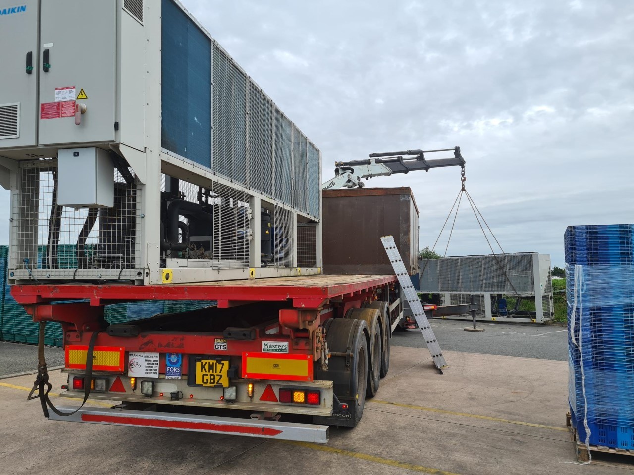 Air con units being loaded - Evesham