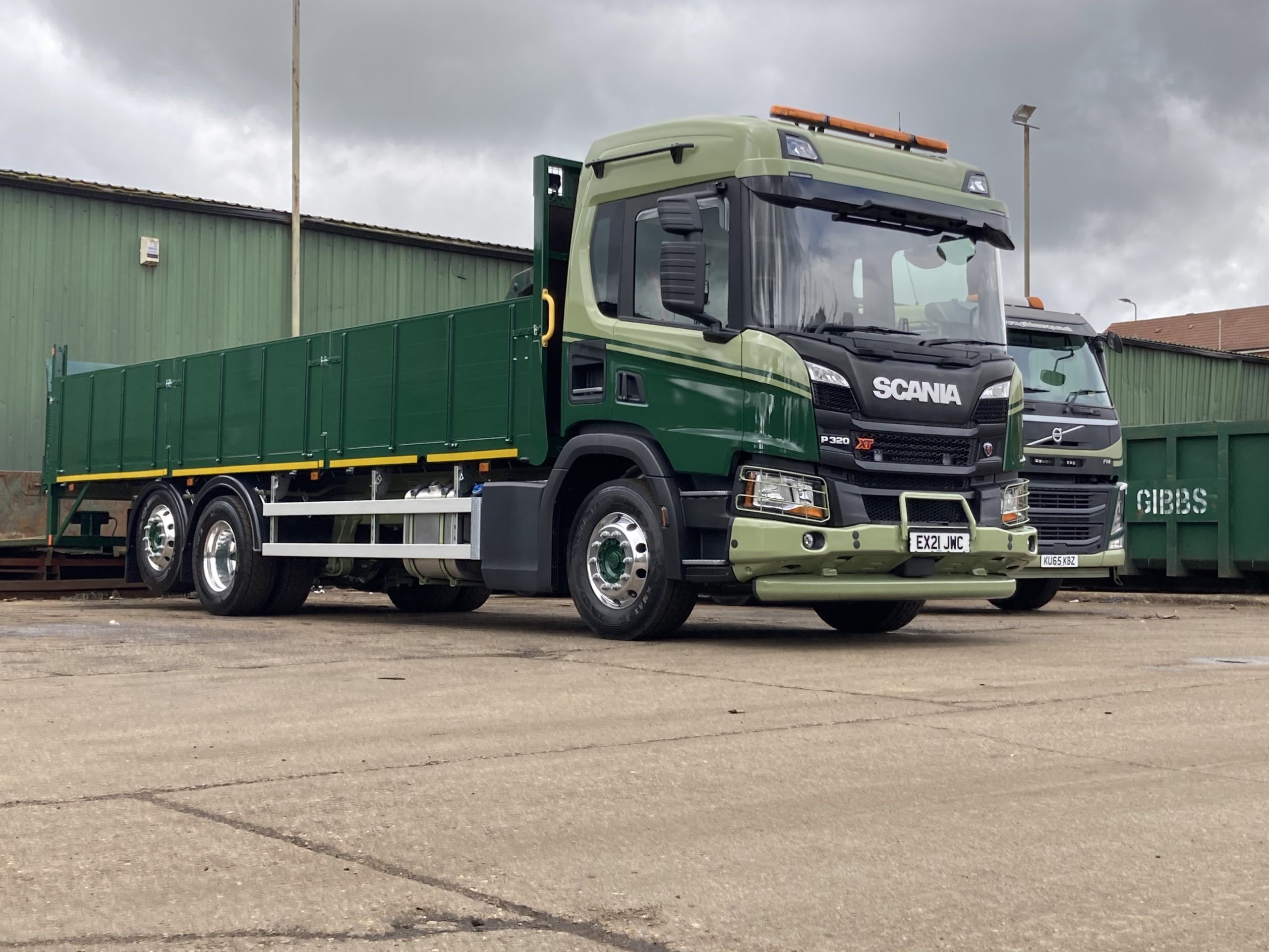 Gibbs Scania Vehicle in Green Front on